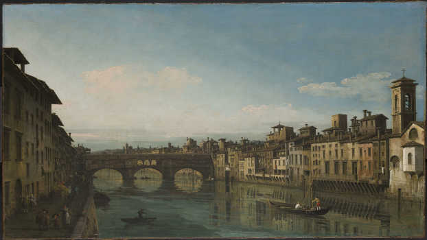 Bernardo Bellotto, L'Arno verso il Ponte Vecchio, Firenze, 1743-1744, Cambridge, Fitzwilliam Museum